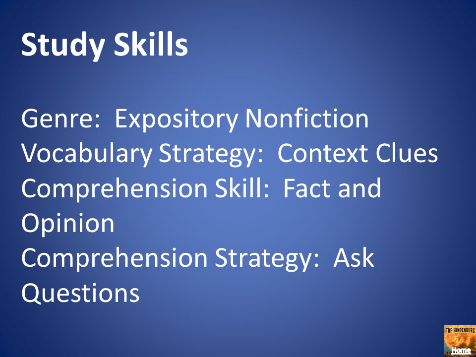 Study Skills Genre: Expository Nonfiction