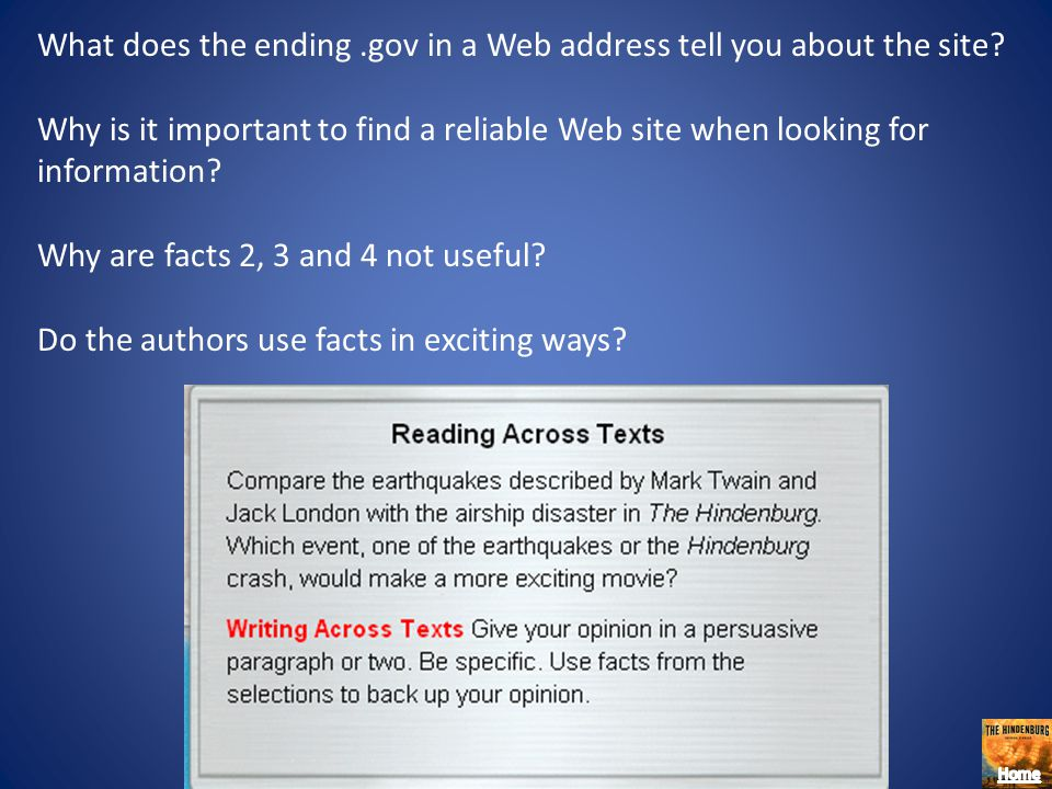 What does the ending .gov in a Web address tell you about the site