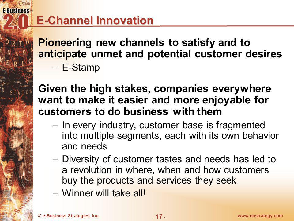 E-Channel Innovation Pioneering new channels to satisfy and to anticipate unmet and potential customer desires.