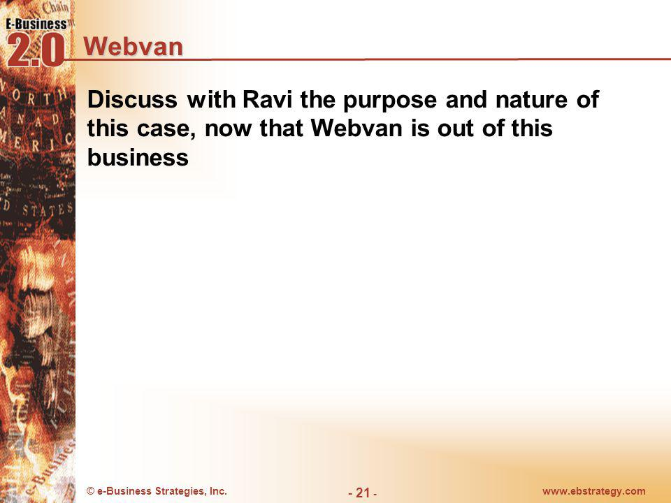 Webvan Discuss with Ravi the purpose and nature of this case, now that Webvan is out of this business.