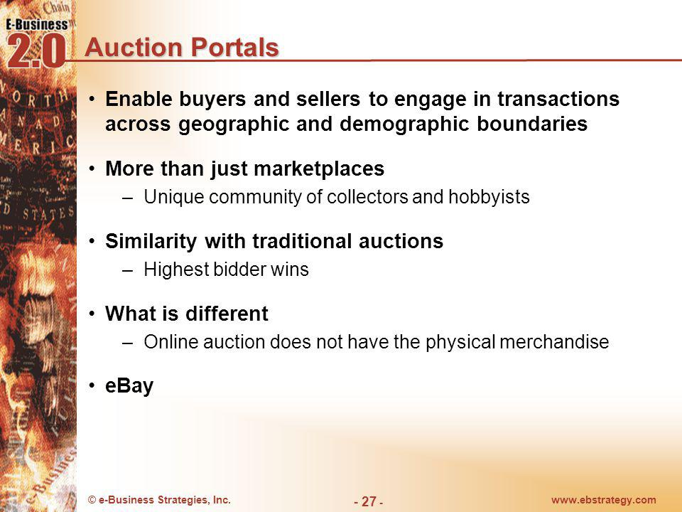 Auction Portals Enable buyers and sellers to engage in transactions across geographic and demographic boundaries.