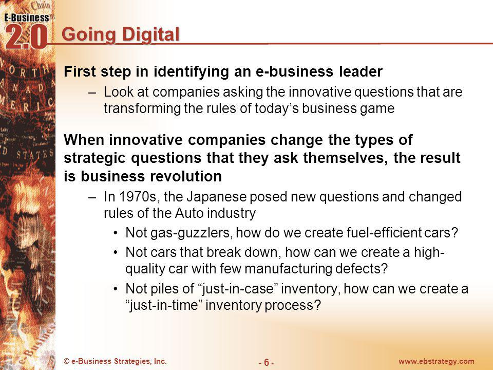 Going Digital First step in identifying an e-business leader
