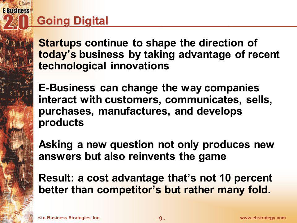 Going Digital Startups continue to shape the direction of today's business by taking advantage of recent technological innovations.