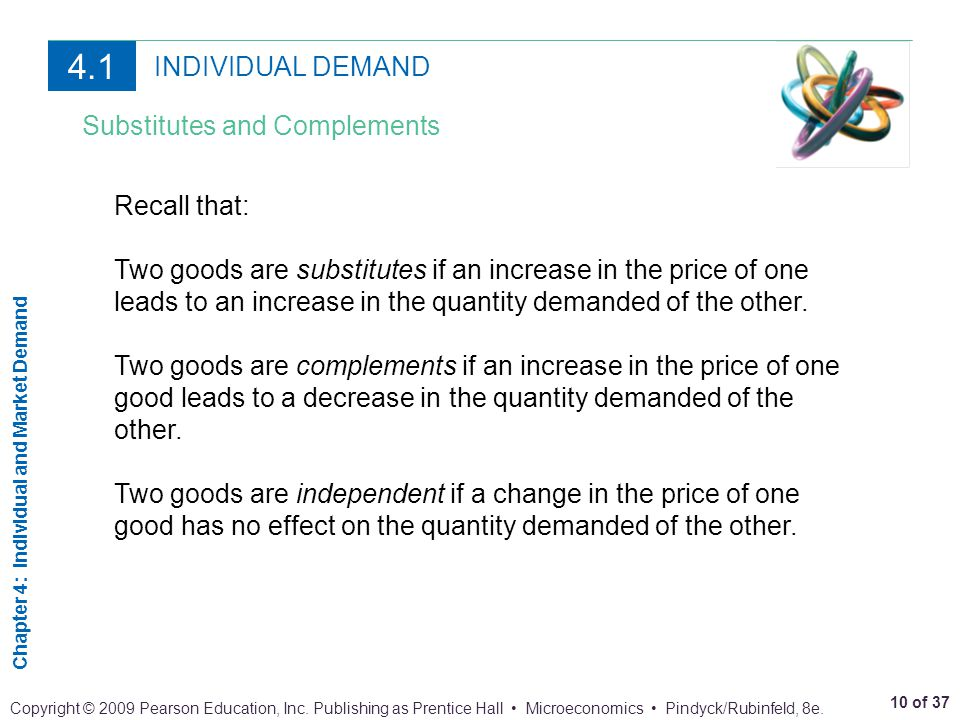 4.1 INDIVIDUAL DEMAND Substitutes and Complements Recall that: