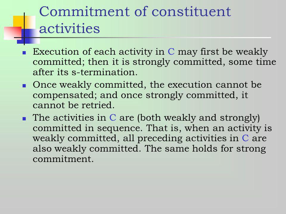 Commitment of constituent activities
