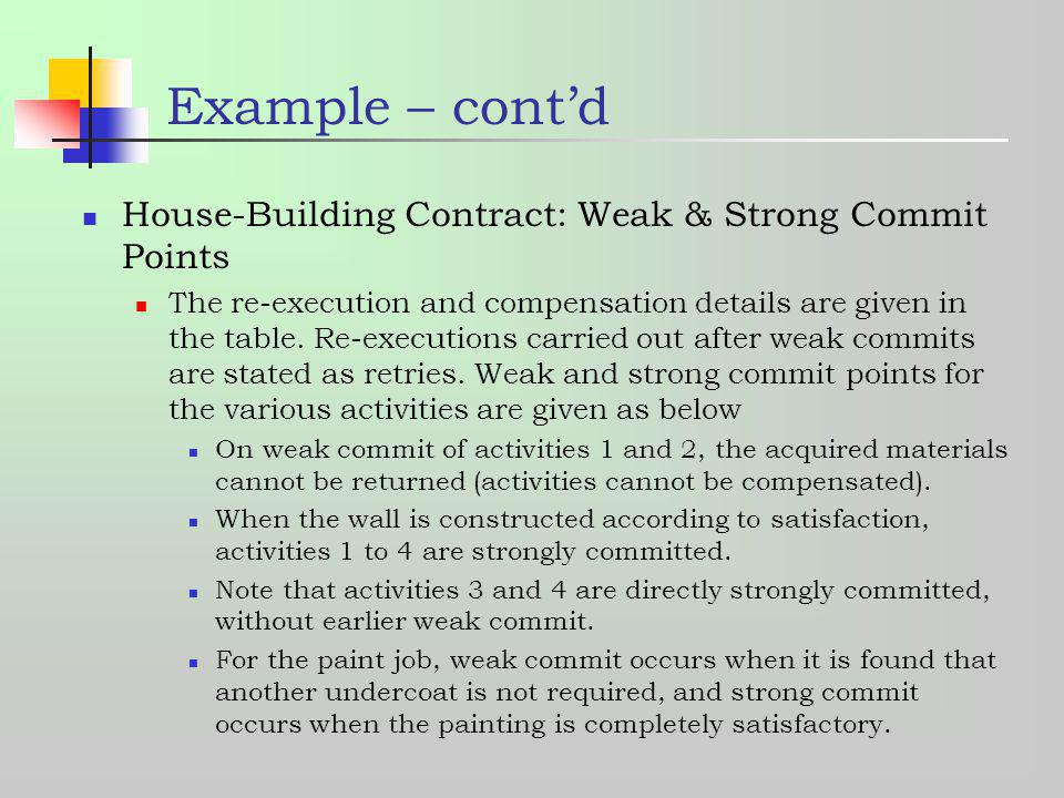 Example – cont'd House-Building Contract: Weak & Strong Commit Points