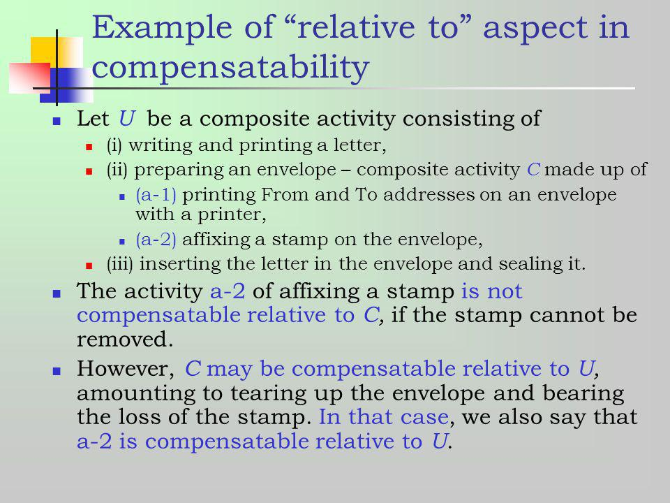 Example of relative to aspect in compensatability