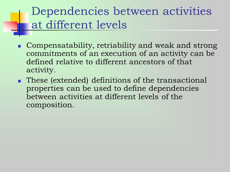 Dependencies between activities at different levels