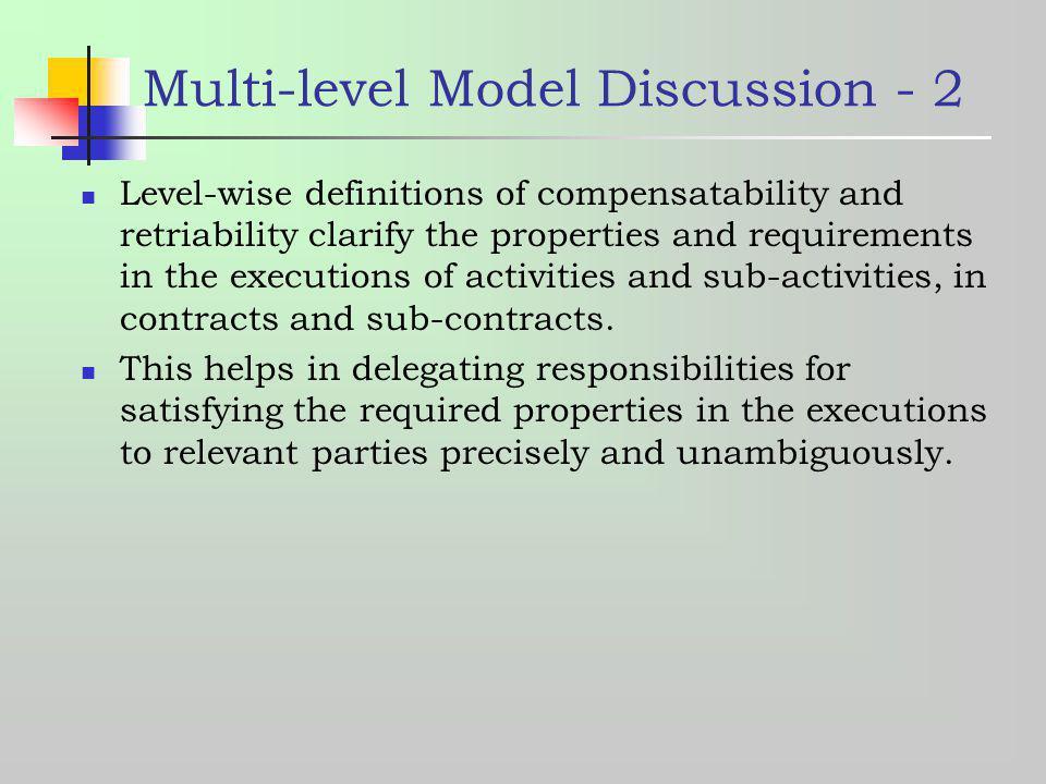 Multi-level Model Discussion - 2
