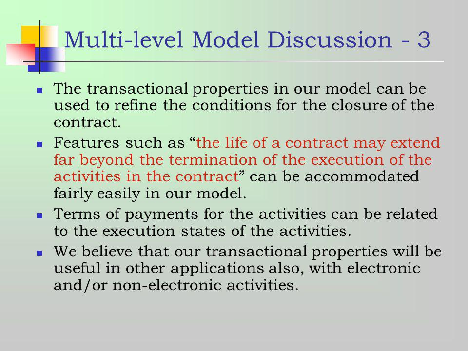 Multi-level Model Discussion - 3