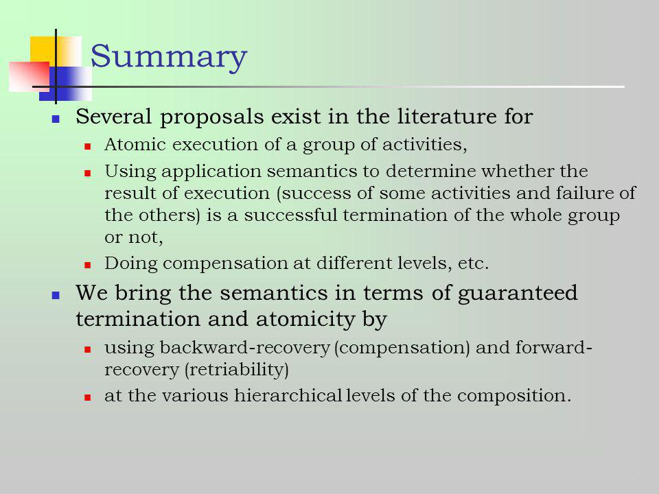 Summary Several proposals exist in the literature for