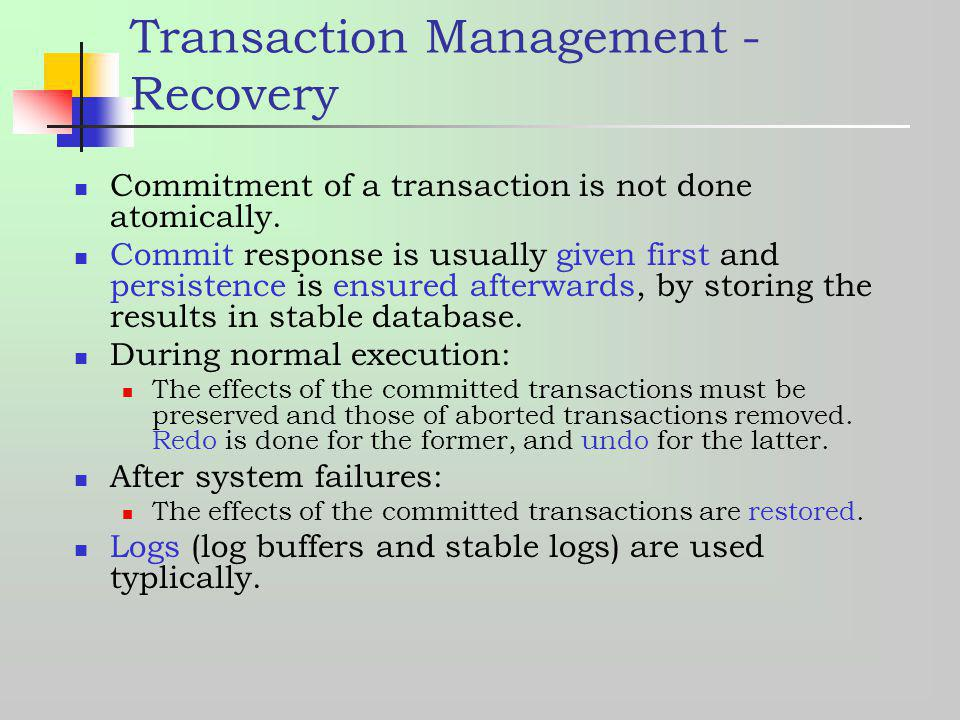 Transaction Management - Recovery