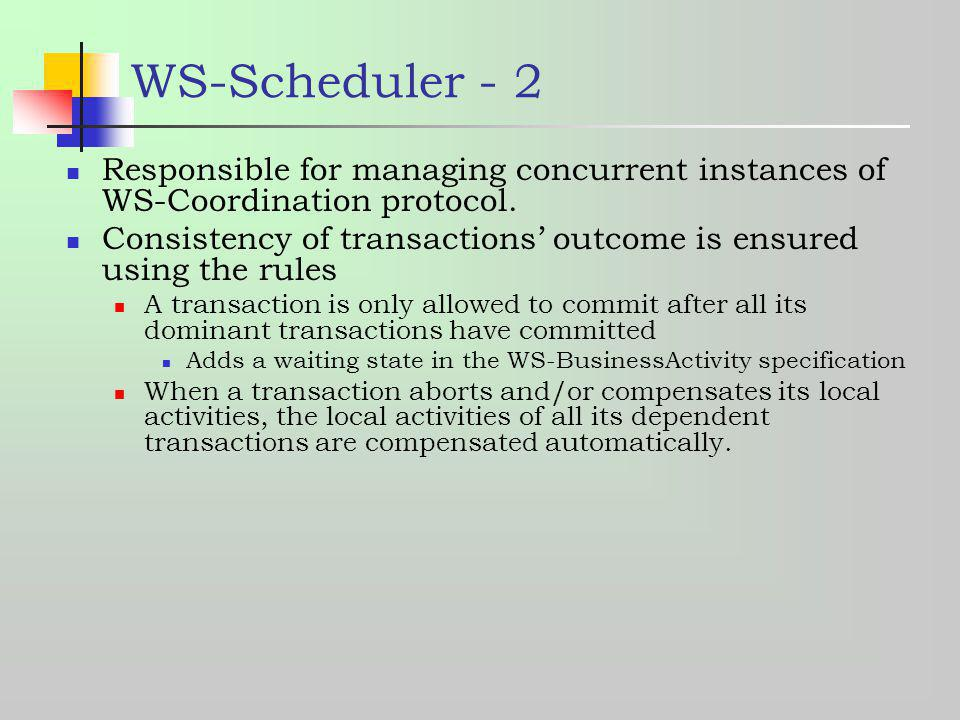 WS-Scheduler - 2 Responsible for managing concurrent instances of WS-Coordination protocol.