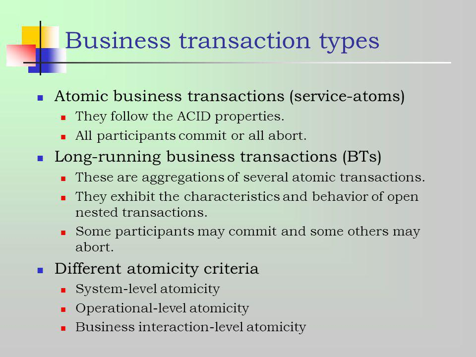 Business transaction types