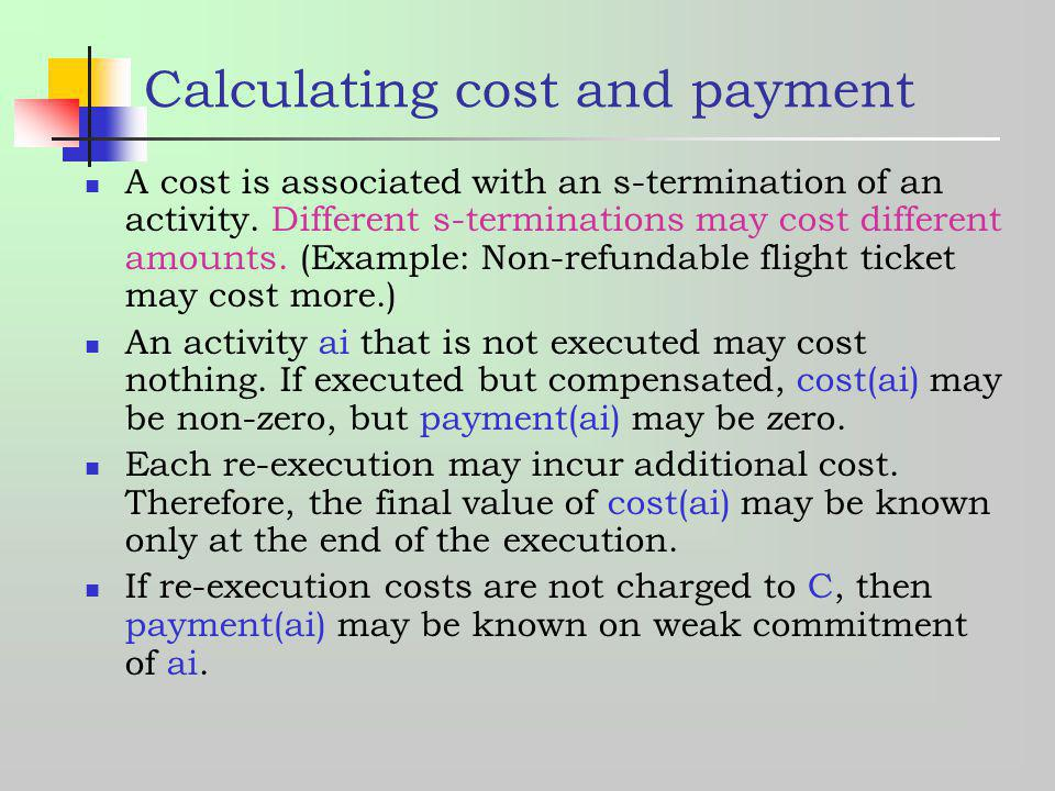 Calculating cost and payment