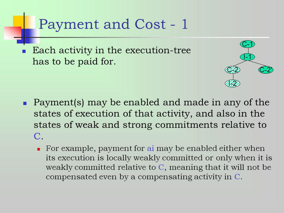 Payment and Cost - 1 C-1. C-2. I-1. C-2′ I-2. Each activity in the execution-tree has to be paid for.