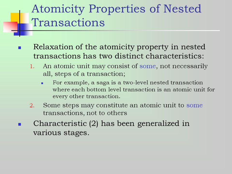 nested transactions A nested transaction is a transaction that is created inside another transaction a nested transaction's purpose is to support transactions in stored procedures.