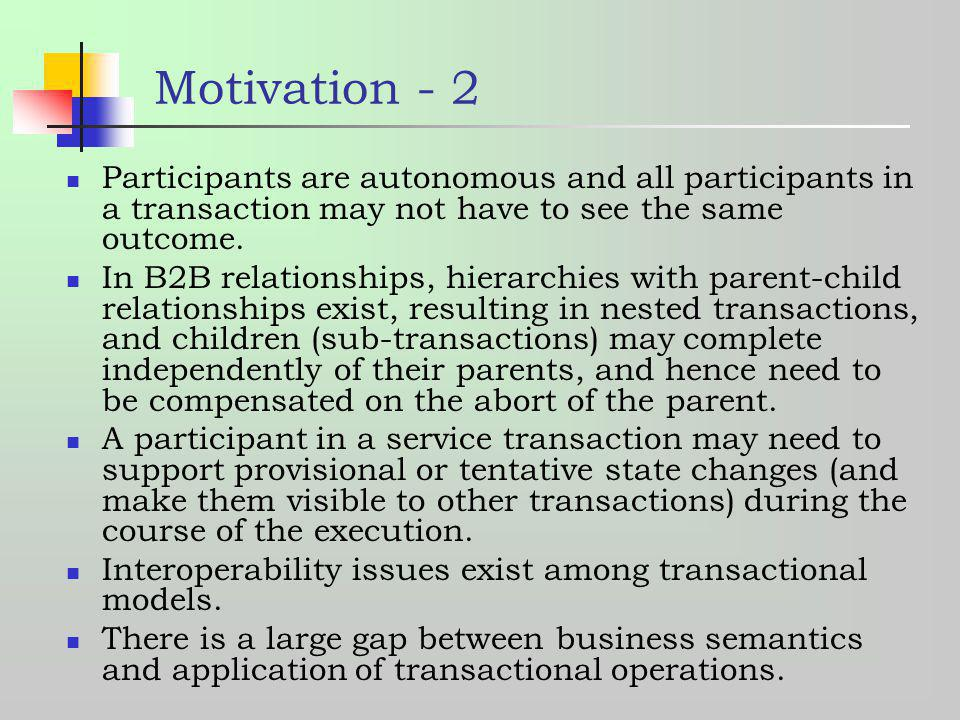 Motivation - 2 Participants are autonomous and all participants in a transaction may not have to see the same outcome.