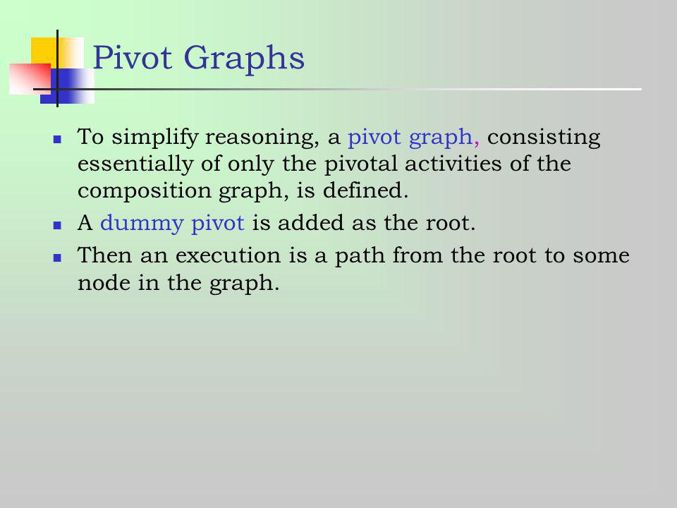 Pivot Graphs To simplify reasoning, a pivot graph, consisting essentially of only the pivotal activities of the composition graph, is defined.