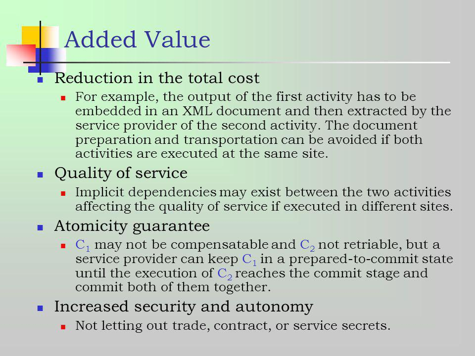 Added Value Reduction in the total cost Quality of service