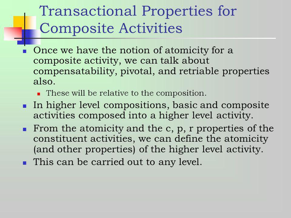 Transactional Properties for Composite Activities