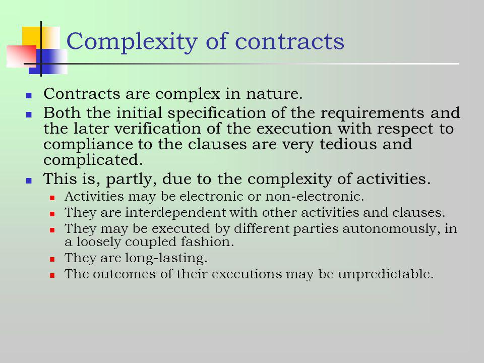 Complexity of contracts