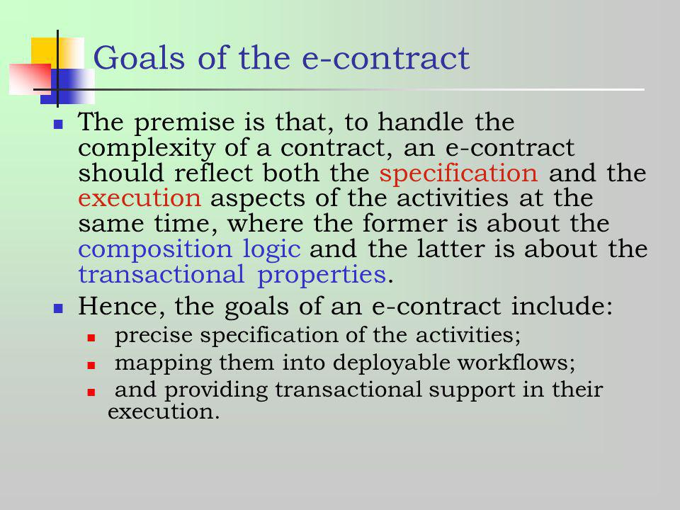 Goals of the e-contract