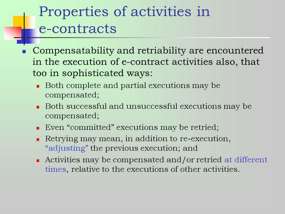 Properties of activities in e-contracts