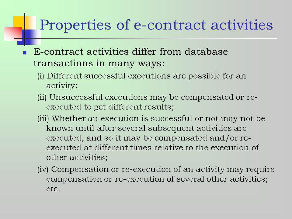 Properties of e-contract activities