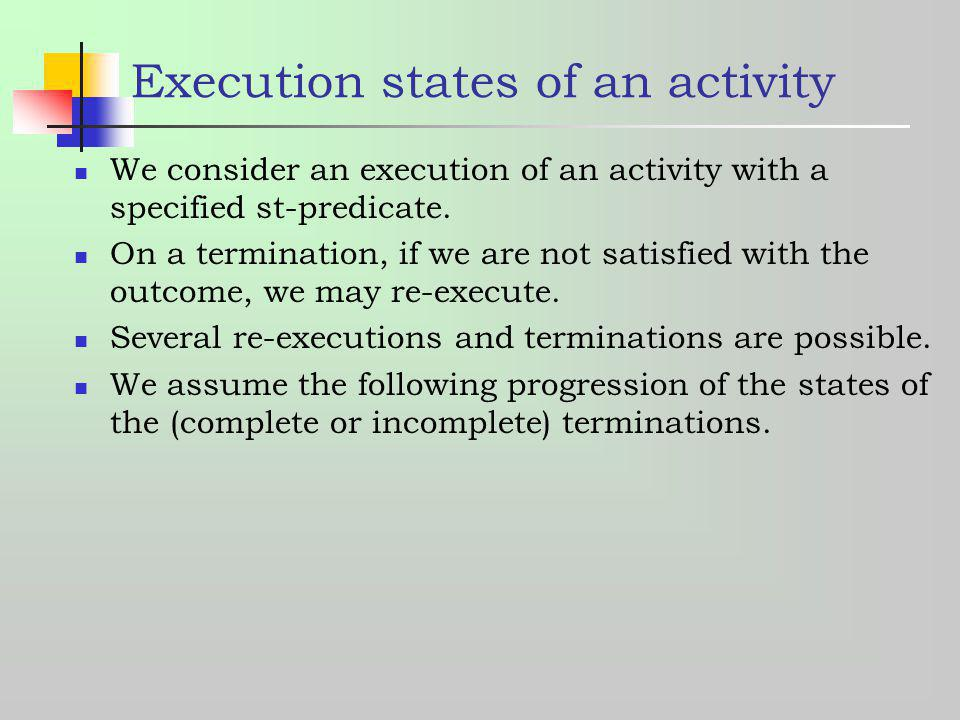 Execution states of an activity
