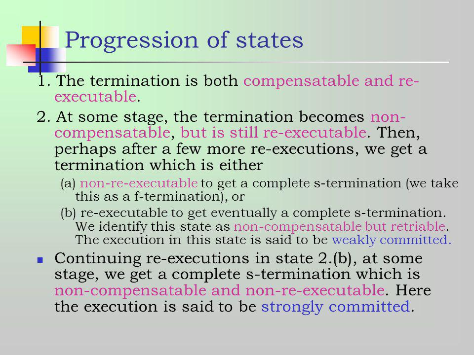 Progression of states 1. The termination is both compensatable and re-executable.