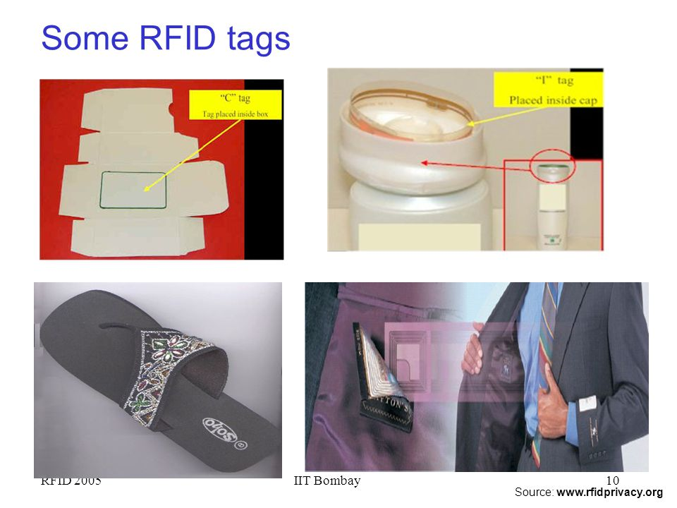 Some RFID tags RFID 2005 IIT Bombay Source: www.rfidprivacy.org