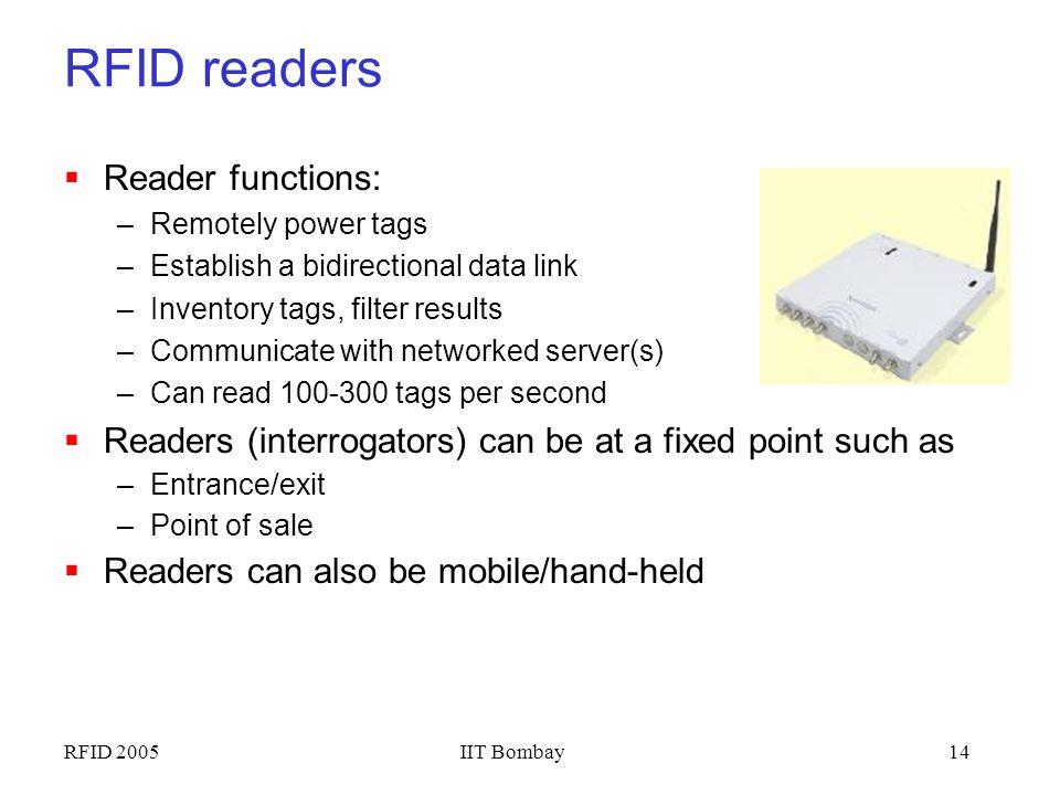 RFID readers Reader functions: