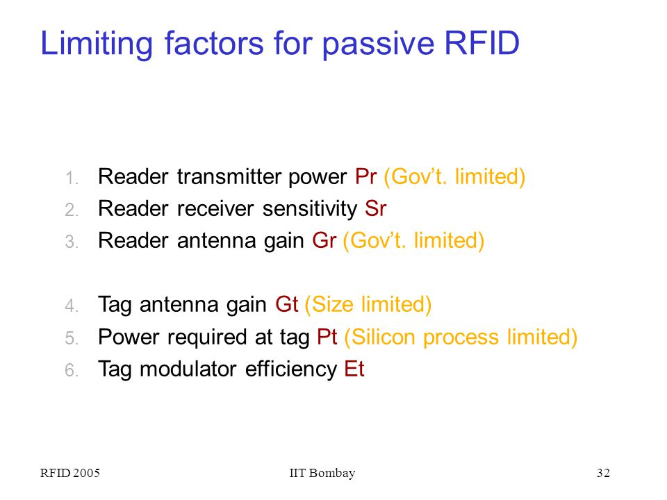 Limiting factors for passive RFID