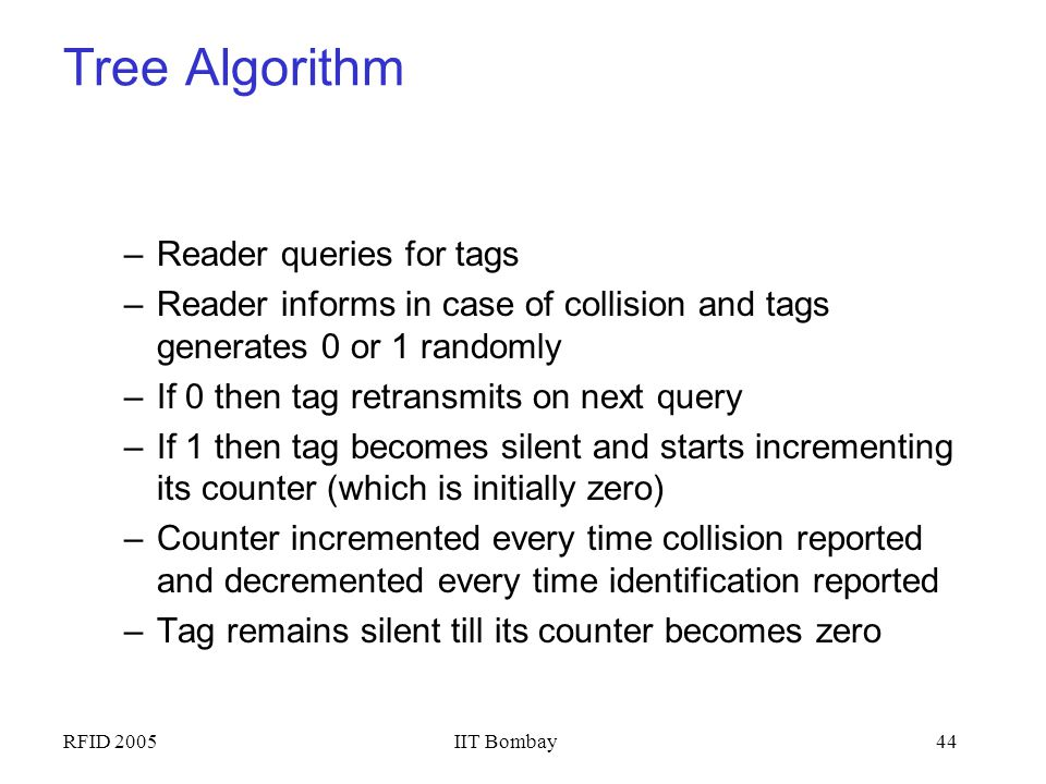 Tree Algorithm Reader queries for tags