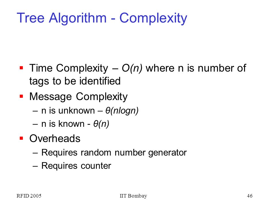 Tree Algorithm - Complexity