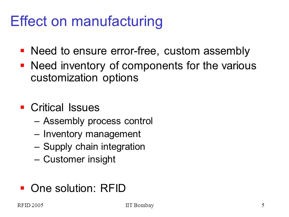 Effect on manufacturing