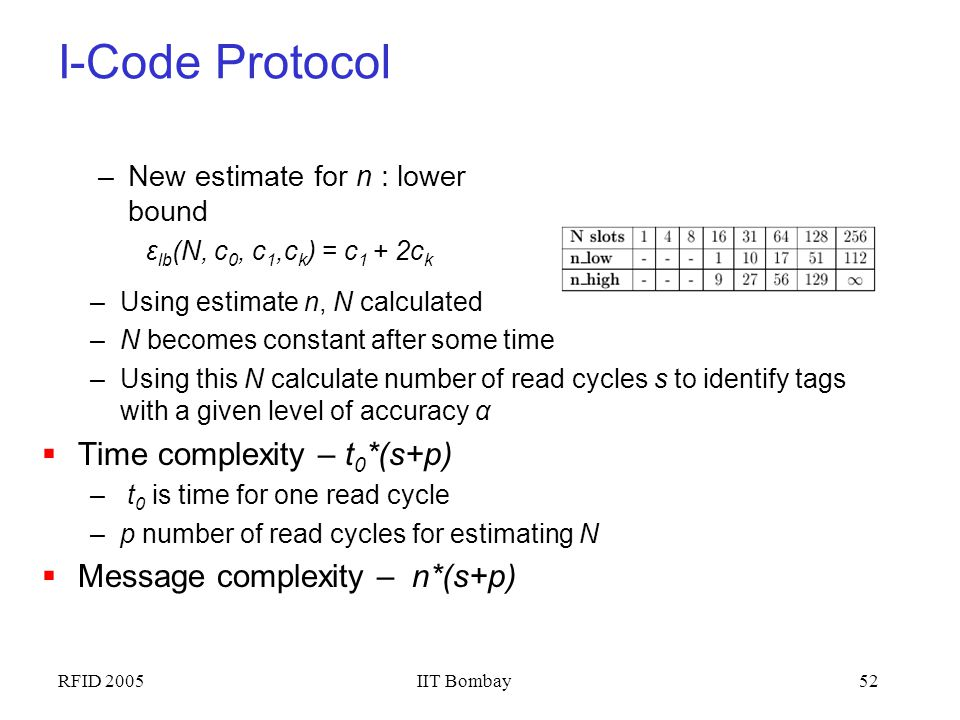 I-Code Protocol Time complexity – t0*(s+p)