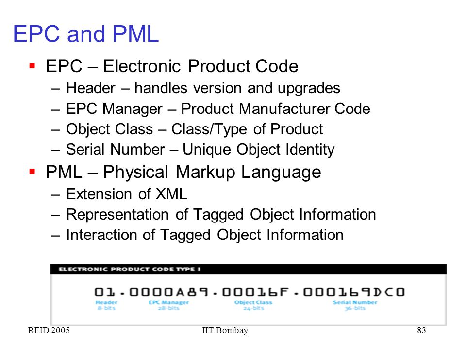 EPC and PML EPC – Electronic Product Code