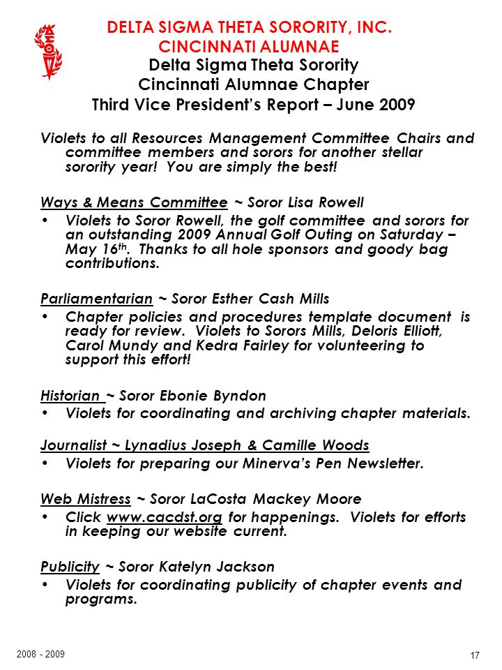 Delta Sigma Theta Sorority Cincinnati Alumnae Chapter Third Vice President's Report – June 2009