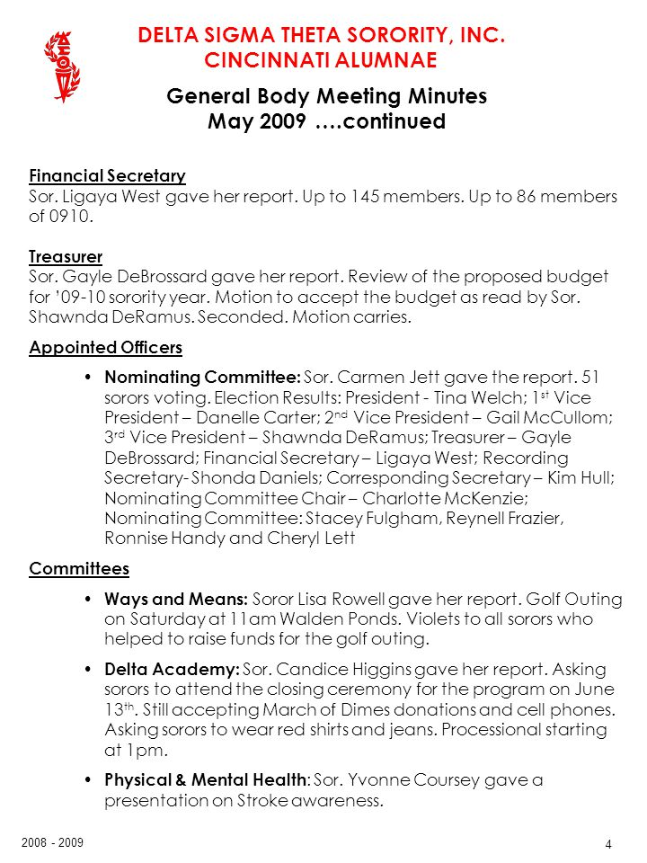 General Body Meeting Minutes May 2009 ….continued