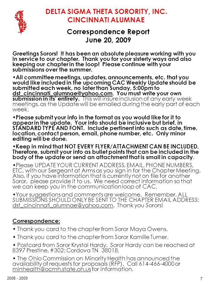 Correspondence Report June 20, 2009
