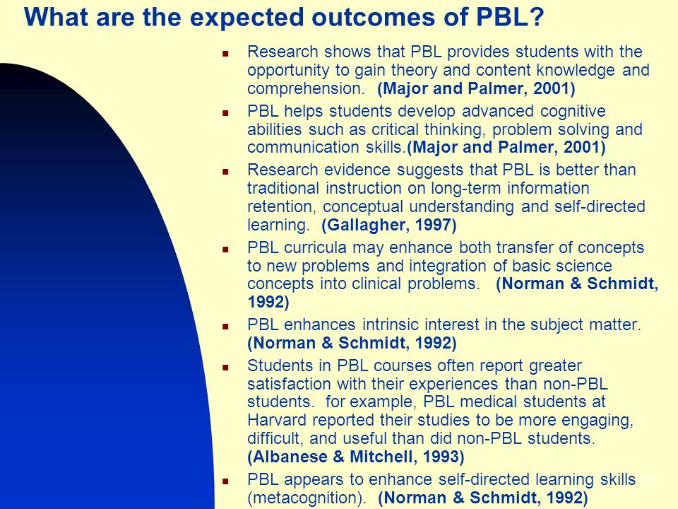 What are the expected outcomes of PBL