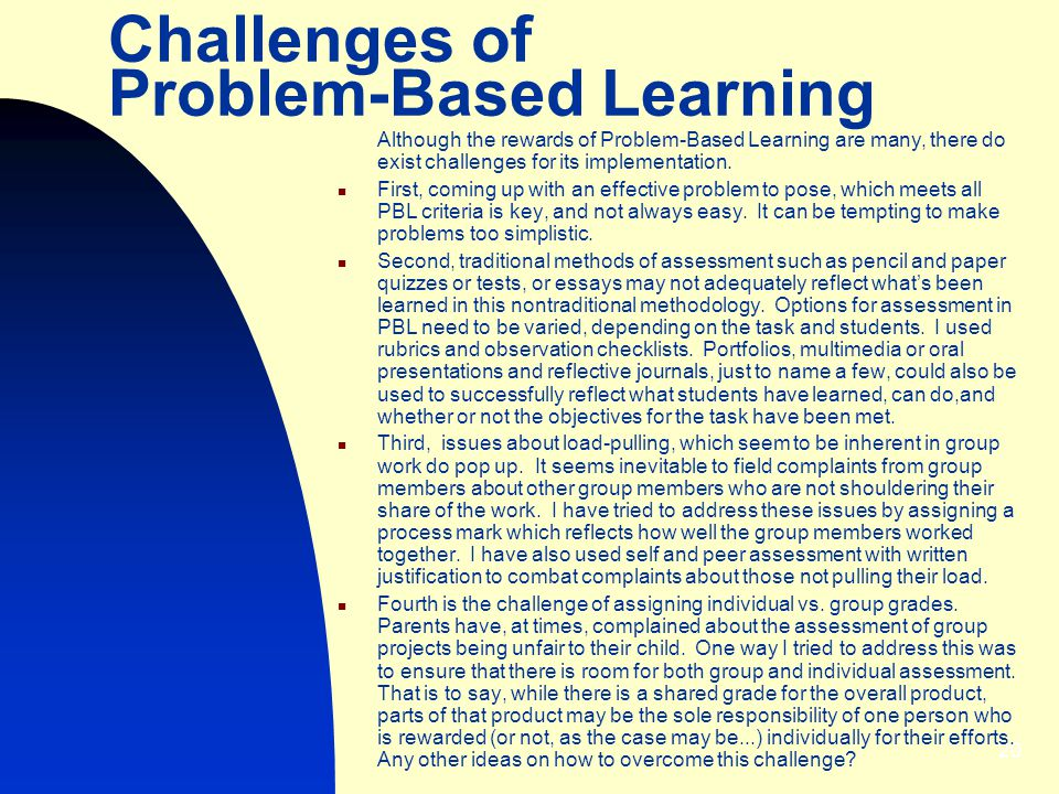 Challenges of Problem-Based Learning
