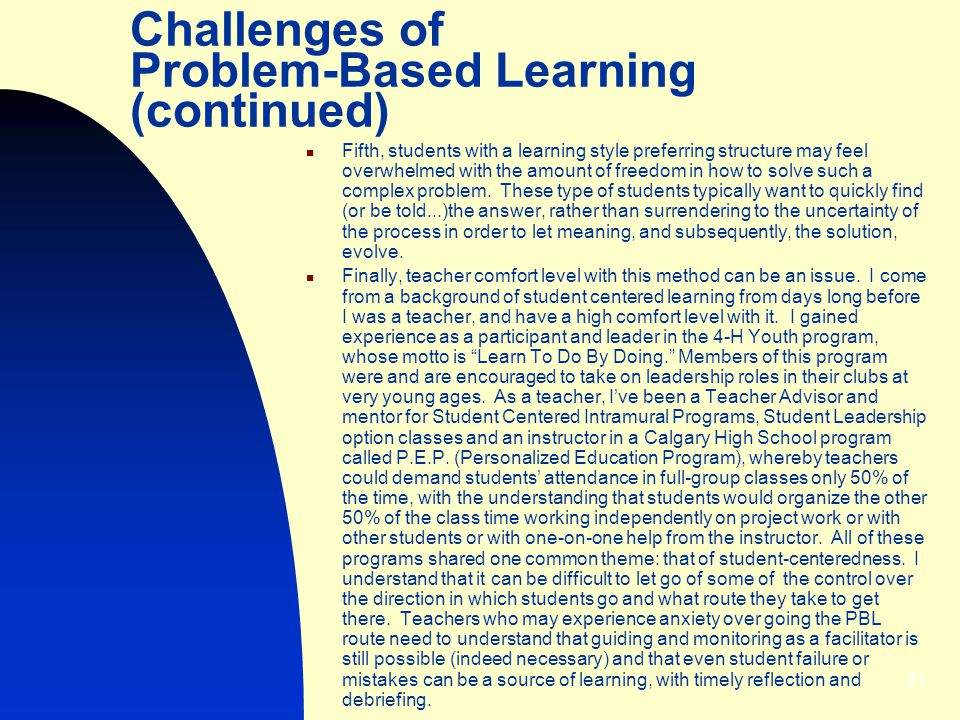 Challenges of Problem-Based Learning (continued)