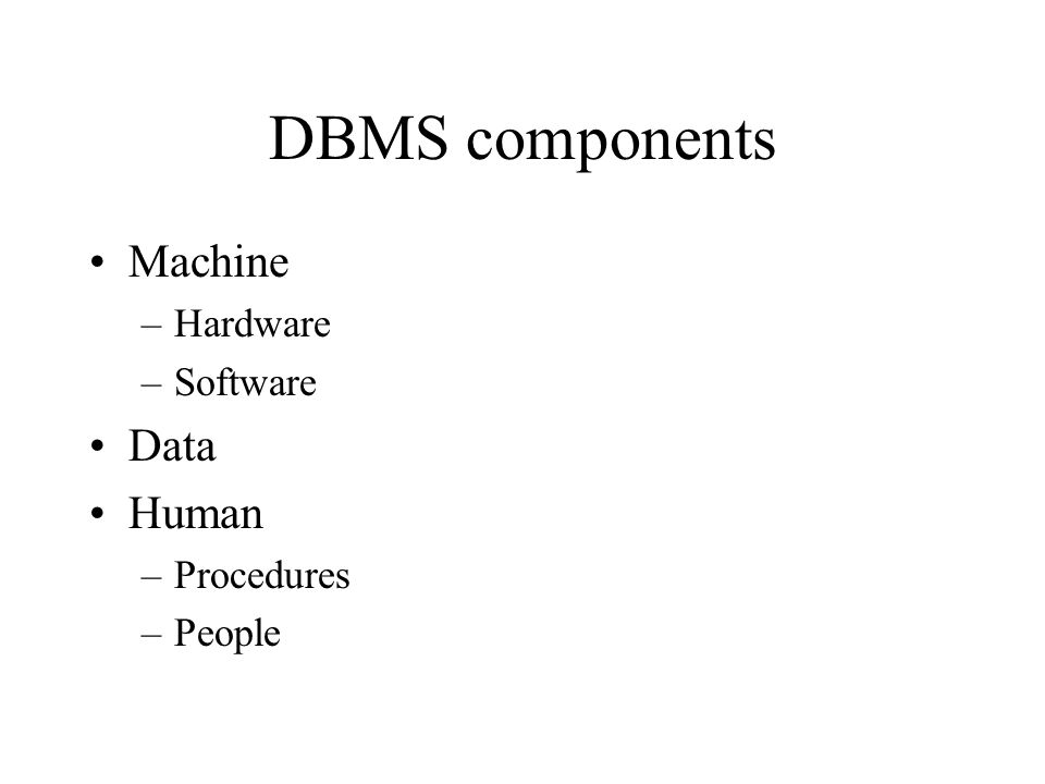 DBMS components Machine Data Human Hardware Software Procedures People