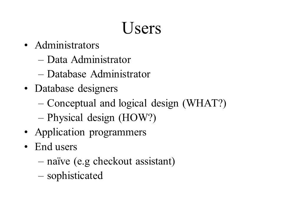 Users Administrators Data Administrator Database Administrator