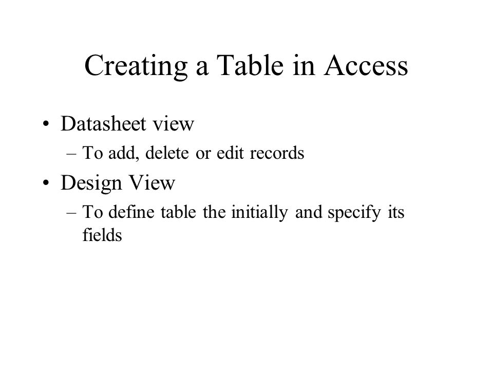 Creating a Table in Access