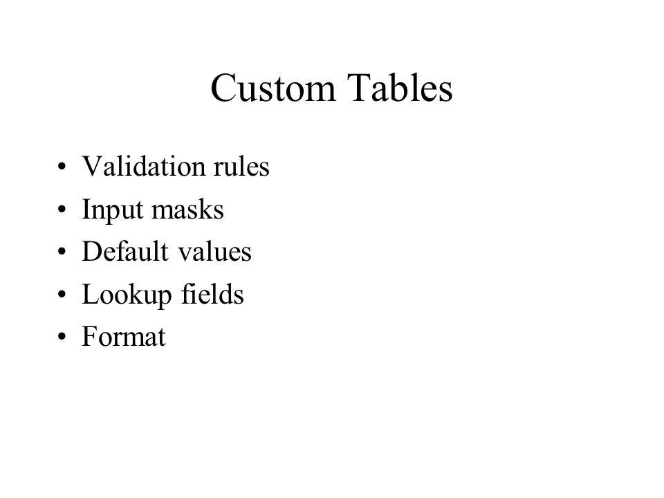 Custom Tables Validation rules Input masks Default values