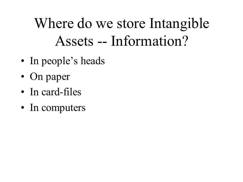 Where do we store Intangible Assets -- Information